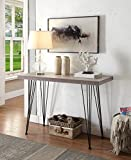 Weathered Grey Oak Black Metal Frame Entryway Console Sofa Table 45″ Wide Review