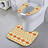 aolankaili Bathroom Contour Rugs Decor Old Aztec Pattern with Vintage Colors Ethnic Mexican Indigenous Culture Print Yellow Health is Convenient