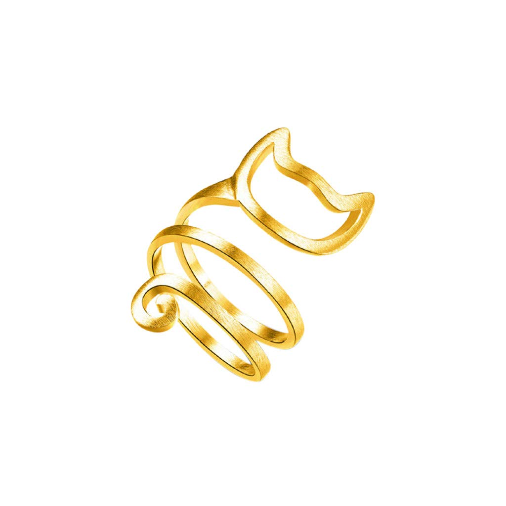 Beclgo Cute Kitten Rings, Lovely Cat Wraps Around Silver Ring Women Girls Adjustable Finger Ring Jewelry Gift (Gold)