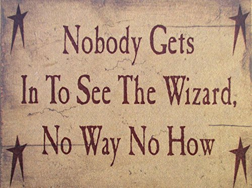 Farmisms 4x3 Inspirational Wooden Rustic Country Signs for Country Farm Living --Nobody Gets In To See The Wizard No Way No How -
