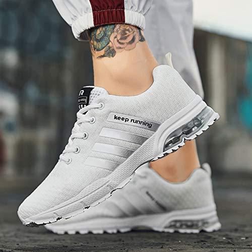 Scarpe Uomo Ginnastica Corsa Sneakers Basse Da Tennis D1012 Running Sportive Muou Fitness bianca Casual f5w1xqf