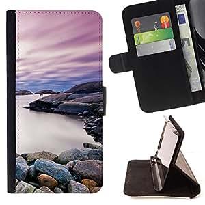 BullDog Case - FOR/Samsung Galaxy Note 4 IV / - / Beautiful Rocky Shore Lake /- Monedero de cuero de la PU Llevar cubierta de la caja con el ID Credit Card Slots Flip funda de cuer