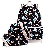 #9: Kemy's Girls School Backpack Set 3 in 1 Bookbag+Shoulder Bag+Pencil Case Water-Resistant