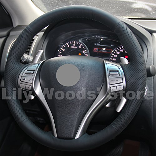 Hand Sewing Black Genuine Leather Steering Wheel Cover for 2013 2014 2015 2016 Nissan Altima / 2014 2015 2016 Nissan Rogue