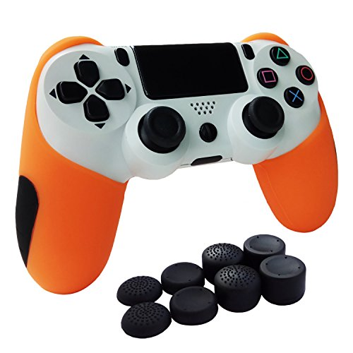 Hikfly Super Thicker Rubber Oil Silicone Controller Half Cover with FPS Pro  Thumb Grips Caps Kits for Sony PS4/Slim/Pro Controller (Orange)