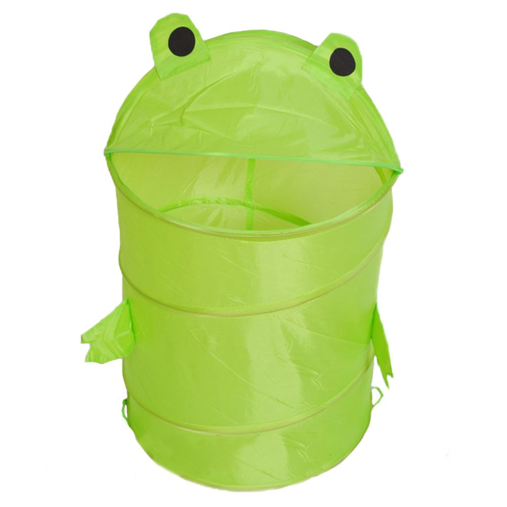 Panier à linge, mignon Dessin animé de rangement pliable Seau avec housse pratique à linge Cylindre Poubelle pour Diaper Peluche dans la chambre de chambre d'enfant 34*43cm Green Tookie