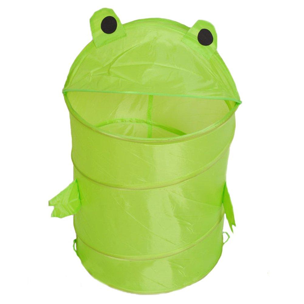 Dirty Clothes Storage Basket Toy Case Organizer Box Laundry Basket Cartoon Animals Home Folding Storage Bucket With Cover Laundry Cylinder Basket Household Washing Laundry Hamper(green frog,Green)