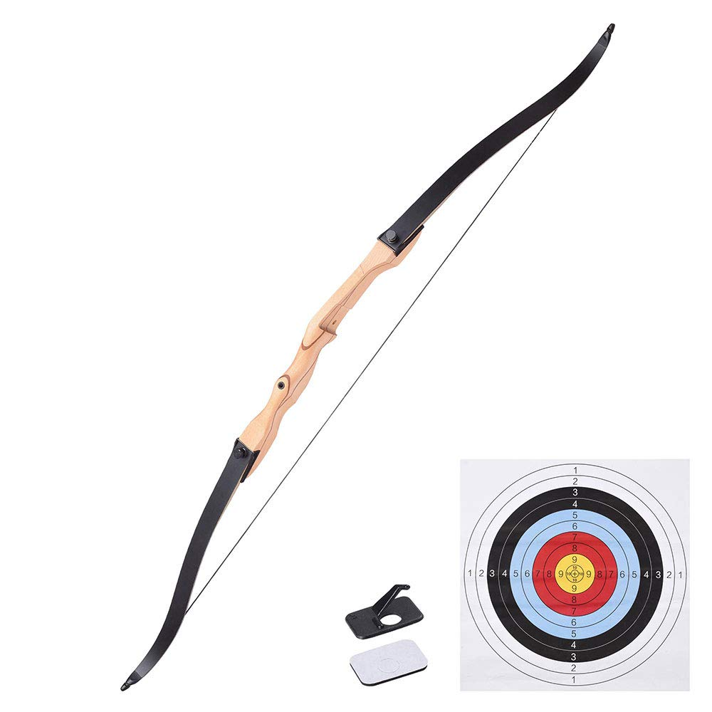 AW 65'' Recurve Bow Right Hand Draw Weight 30lbs Traditional Archery Hunting Take Down Long Bow Outdoor