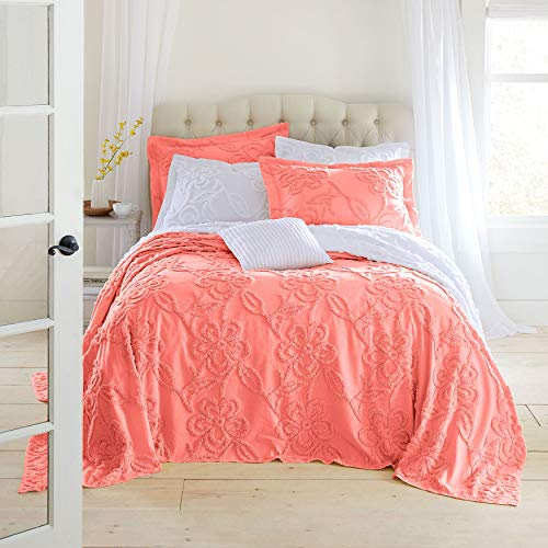 BrylaneHome Flora Chenille Bedspread – Coral, Full