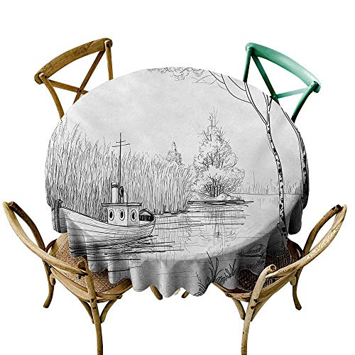 Round Tablecloth 54 inch Nature,Boat on The River by The Water Reeds Fishing Lake Plants Hand Drawn Style Nature,Black White Kitchen Dining Room Restaurant Party Decoration