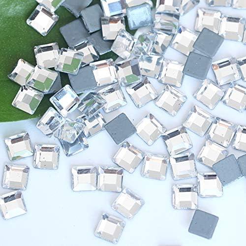 Pukido High Quality Multiple Shapes Crystal Glass Shiny Hot Fix Rhinestones Flatback White Hot Fix Rhinestones For Wedding Dress B3382 - Color: Baguette 2.5x5mm, Number of Pcs: 50Pcs 1Pack