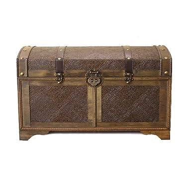 Nostalgic Large Wood Storage Trunk Wooden Treasure Chest