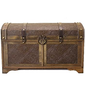 Nostalgic Large Wood Storage Trunk Wooden Treasure Chest