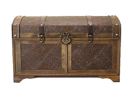 Charmant Nostalgic Large Wood Storage Trunk Wooden Treasure Chest