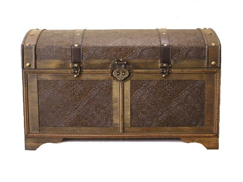 Nostalgic Large Wood Storage Trunk Wooden Treasure Chest by Styled Shopping