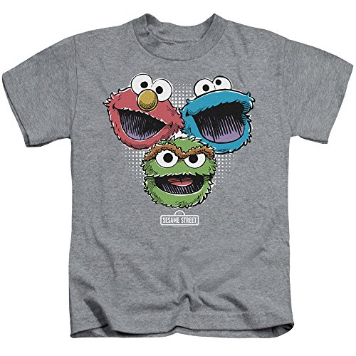 Sesame Street Halftone Heads Unisex Youth Juvenile T-Shirt for Girls and Boys, Medium (5/6) Athletic Heather