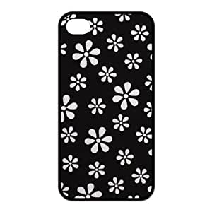 4S case,Black-White Flower 4S cases,4S case cover,iphone 4 case,iphone 4 cases