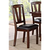 Poundex 2 Piece Counter Height Dining Chair, Dark Walnut Finish