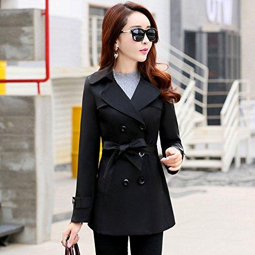 Corto Mayihang anorak chica delgada chaqueta de doble botonadura temperamento tamaño Negro