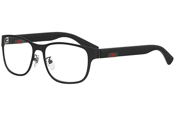 f8bbf7e942b Amazon.com  Gucci GG 0013O 001 Black Metal Square Eyeglasses 55mm ...
