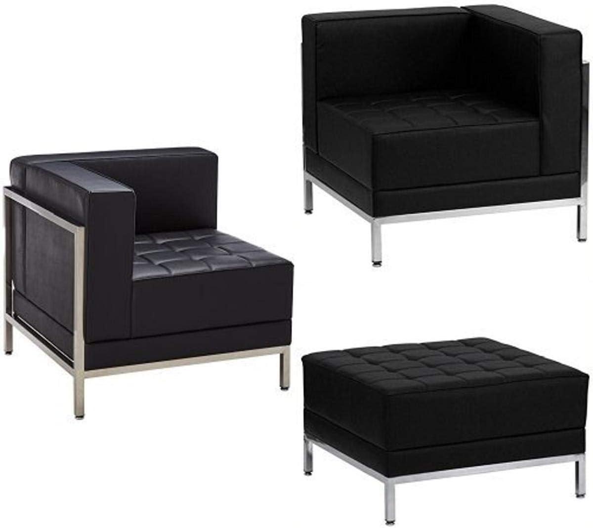 Flash Furniture HERCULES Imagination Series Black Leather 4 Piece Chair & Ottoman Set
