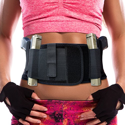 Gearoot-Ambidextrous-Neoprene-Belly-Band-Holster-for-Concealed-Carry-with-Two-Gun-Compartments-for-Women-Men-Fits-Glock-Ruger-LCP-SW-MP-Shield-Sig-Sauer-Ruger-Kahr-Beretta-1911-etc