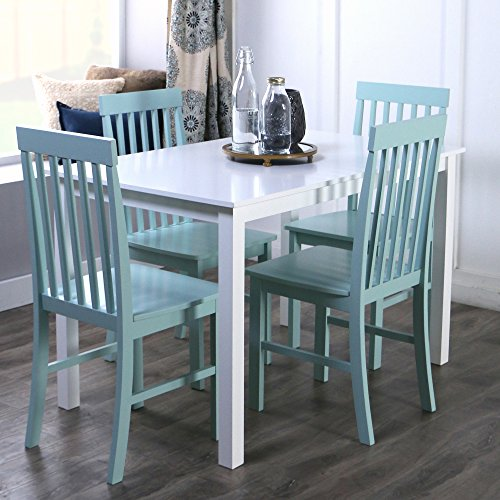 New 5 Piece Chic Dining Set-Table and 4 Chairs-White/Sage Finish ()