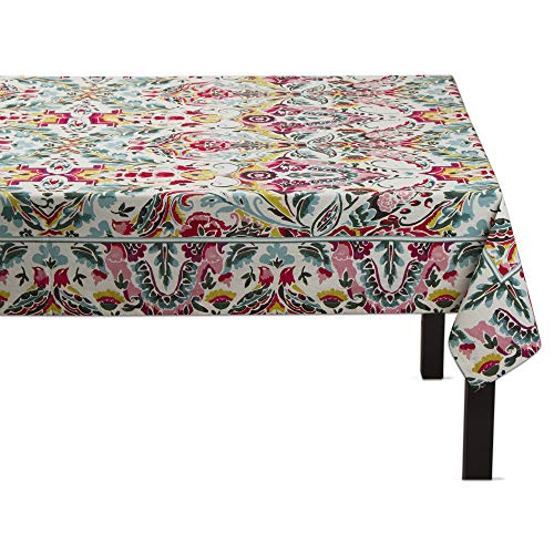 (tag All Cotton Linen Eden Floral Fleur Bird Print Tablecloth 84 by 60)