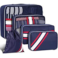 YAMTION 5-Piece Oxford Lightweight Travel Luggage Organizers Packing Cubes Space Saver (Blue)