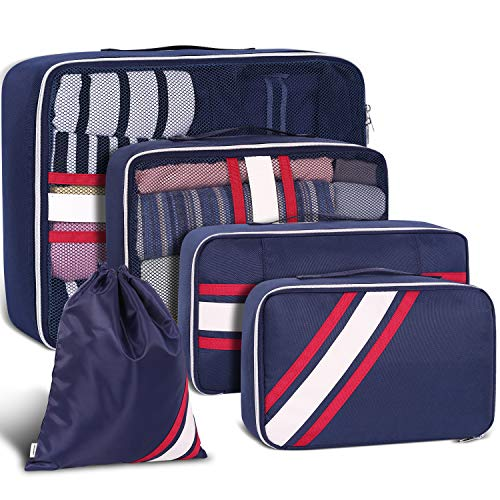 Packing Cubes, Packing Organizers, YAMTION 5-Piece Oxford Lightweight Travel Luggage Organizers Packing Cubes Space Saver(Blue)