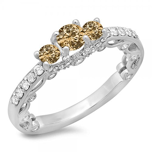 1.15 Carat (ctw) 14K Gold Round Champagne & White Diamond Ladies Bridal Vintage 3 Stone Engagement Ring