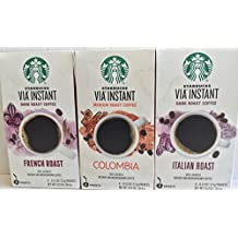 Starbucks Via Instant Coffee Bundle- 24 Packets--Italian Roast, Colombia, & French Roast
