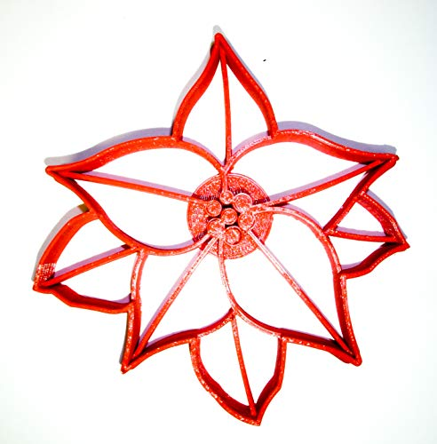 POINSETTIA PLANT RED GREEN FOLIAGE CHRISTMAS STAR FLOWER SPECIAL OCCASION COOKIE CUTTER BAKING TOOL 3D PRINTED MADE IN USA PR2229