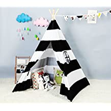 Steegic Foldable Cotton Canvas Indian Teepee Kid Play Tent for Children Playhouse-Black and White Stripe