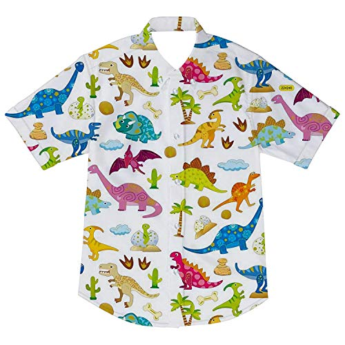 Goodstoworld Boys White Button Down Shirt Short Sleeve Uniform Fun Apparel Dinosaur Print Kids T-Shirt Tops Blouse 5-6T