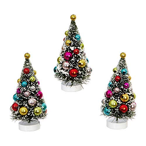 RAZ Imports Mini Decorated Christmas Tree Figurines - Set of 3