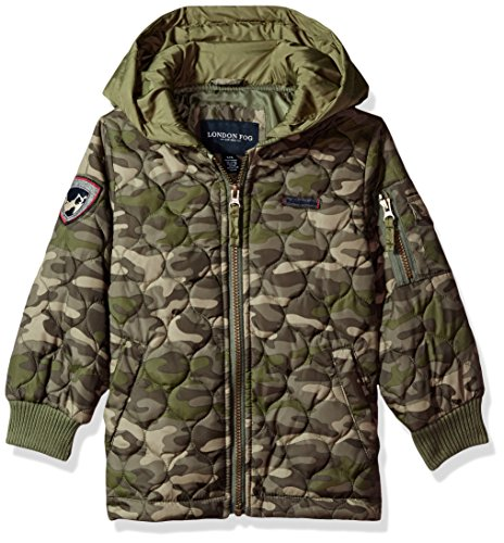 London Fog Baby Toddler Boys' Quilted Bomber Jacket with Hood, Camo, 4T (Quilted Boys Jacket)