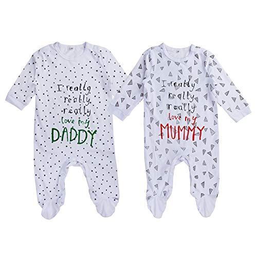 Batman Baby Shower Ideas (AOMOMO Unisex-Baby Newborn Footfeet Long Romper I Love Mummy I Love Daddy Bodysuit 2 Pack)
