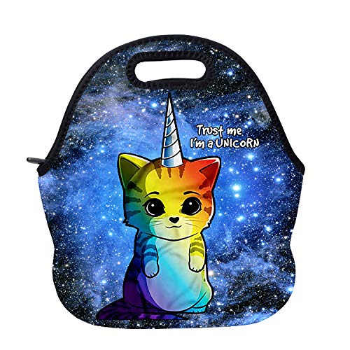 AOTIGO Rainbow Unicorn Cat Neoprene Lunch Bag Insulated Lunch Box Waterproof Lunch Tote Bag with Zipper for Women Kids Boys Girls and Men