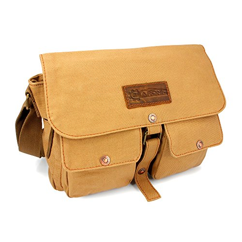(GEARONIC Men's Vintage Canvas Satchel School Military Shoulder Messenger Crossbody Bag ...)