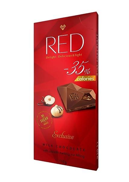 RED delight calorías reducidas de chocolate con leche con relleno de nueces endulzado con eritritol,