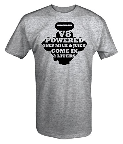 V8 Powered - Only Milk & Juice in 2 liters Muscle Cars Racing T shirt - Large