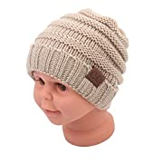 Sechunk Baby Boy Winter Warm Fleece Lined Hat, Infant Toddler Kids Beanie Knit Cap For Girls and Boys [0-5years] (Light Gray)