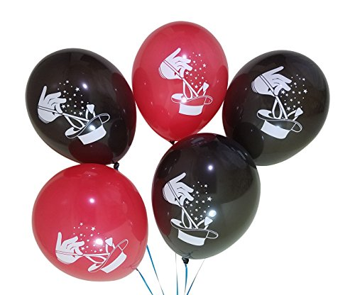 - Magic Theme Balloons for Birthday Party with Wand, Hat, and Rabbit Ears - 25 Pack - Red, Black