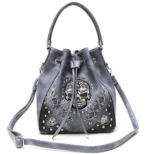 10.25' Single (Sugar Skull Punk Art Concealed Carry Handbags Rivet Studded Biker Purse Women Fashion Python Shoulder Bag (Grey))