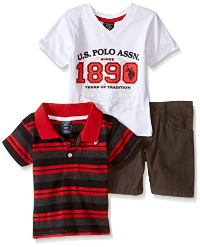 U.S. Polo Assn. Boys' 3 Piece V-Neck T-Shirt, Jersey Shirt and Twill Short, Red, 18 Months (V Baby T-shirt)