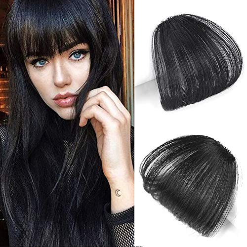 Reysaina Real Human Hair Flat Bangs Hand Tied Bangs Mini Fashion Clip-in Hair Extension #1B Natural Black