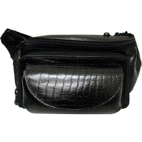 Winn International Harness Large Leather Fanny Pack in Black Faux Croc (Leather Harness Winn)