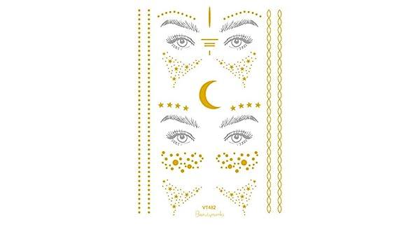 Amersasa - Pegatina de tatuaje de hoja de oro de Navidad para ...