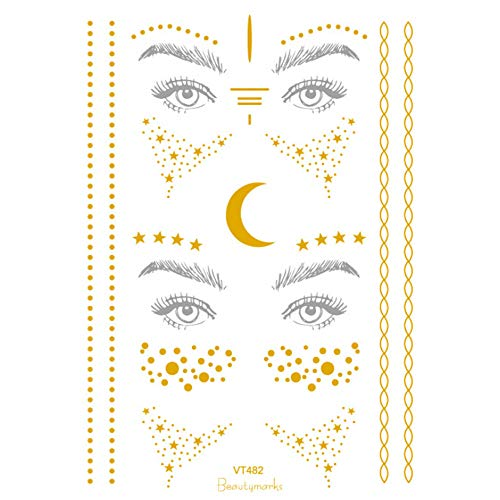 Inverlee 2PCS Christmas Halloween Party Facial Gold Foil Sticker Temporary Tattoo Stickers Makeup Tattoo Stickers (B) -